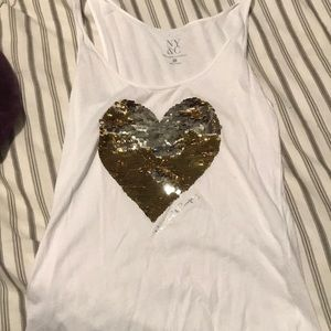 White tank top with sequin heart